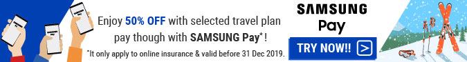 Travel Insurance 50% OFF with SAMSUNGPAY